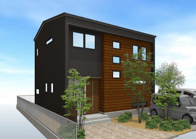 角地に建つスクエア型の家